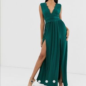 ASOS Lace Insert Pleated Maxi Dress Forest Green